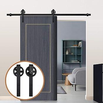 4FT/122cm Herraje para Puerta Corredera Kit de Accesorios para Puertas Correderas,Negro J-Forma Rodillos Grandes: Amazon.es: Bricolaje y herramientas
