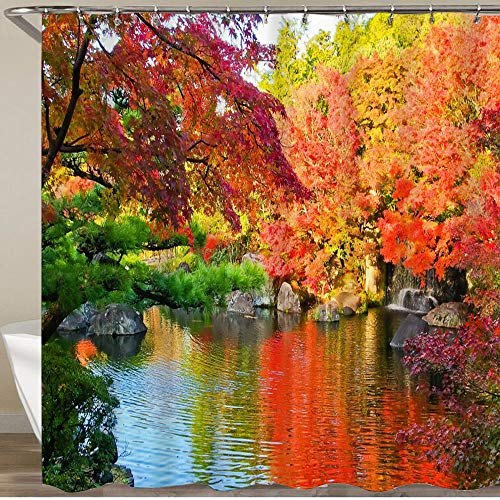LISNIANY Cortinas Ducha,Hermoso Paisaje otoñal de Koko en Garden Himeji japón,Cortina de Ducha Impermeable, Cortina de Ducha