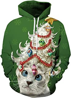Womens Mens Christmas Hoodie Unisex 3D Printed Pullover Plus Size Hoodies Hooded Sweatshirts with Pockets XL-4XL