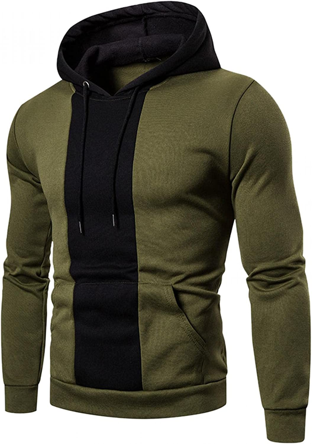 Hoodies for Men Men's Casual Color Splice Long Sleeve Topss Round Neck Drawstring Fashion Hoodies & Sweatshirts Blouse