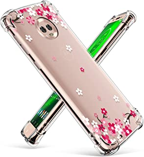 GVIEWIN Compatible for Moto G6 Case, Clear Flower Pattern Design Soft & Flexible TPU Ultra-Thin Shockproof Transparent Floral Cover, Cases for Moto G (6th Generation) (Peach Blossom/Pink)