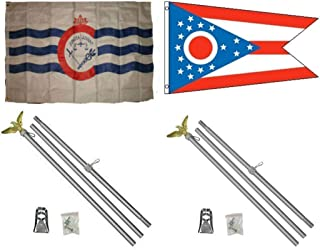ALBATROS 3 ft x 5 ft City of Cincinnati with State of Ohio Flag with 2 Aluminum with Pole Kit Sets for Home and Parades, Official Party, All Weather Indoors Outdoors
