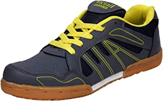 Victall Badminton Shoes Light Weight & Comfortable (Grey Yellow) Unisex Shoes for (Men, Boys, Women, Girls & Junior) PU Material Non Marking Sole