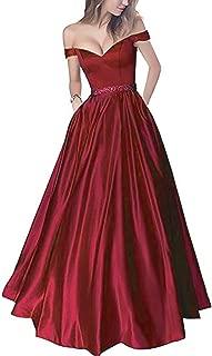 Best red satin off the shoulder prom dress Reviews