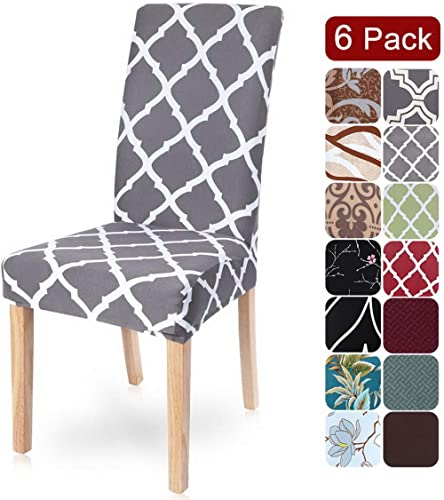 Dining Room Chair Covers Slipcovers Set of 6, SearchI Spandex Fabric Fit Stretch Removable Washable Short Parsons Kit...