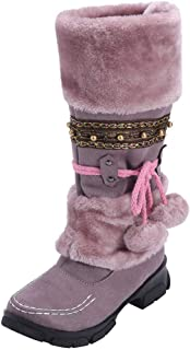 Lazzboy Boot Womens Snow Suede Faux Fur Pom Boho Ethnic