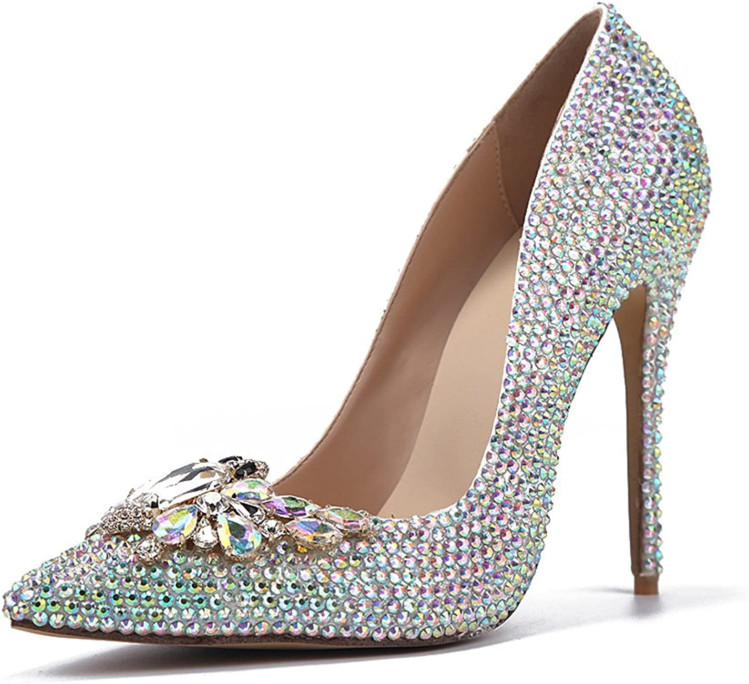 Lacitena High Heel Pumps Handmade Crystal Diamond Party Bridal shoes