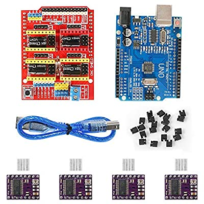 3D Printer CNC Shield V3.0 Expansion Board Engraving Machine, 20PCS w/Jumpers, 4PCS DRV8825 Stepper Motor Driver with Heatsink, UNO R3 Board with USB Cable for Arduino 3D Printer Parts Stepstick Kit