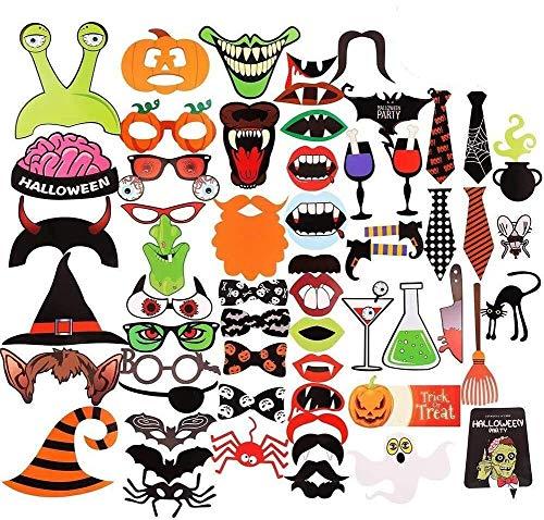 Halloween Foto Prop,Decoración del Partido Photobox Accesorios Photo Booth Props 59PCS Halloween Creativo Photocall para Halloween Cosplay Disfraz DIY Kit Diversión Accesorios