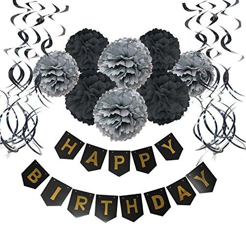 Wartoon HAPPY BIRTHDAY Papel feliz cumpleaños empavesado Banderines con 8 Papel de Seda Pom Poms Bola de la Flor y 15 Guirnaldas verticales para Decoraciones del Partido Fiesta de Cumpleaños, Negro