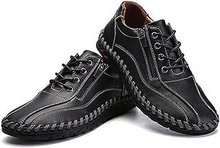 Men Genuine Leather Shoes Casual Sneakers Plus Size 38 50 Man Lace Up Moccasins 4 Colors Black Brown Blue Orange