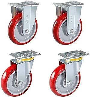 4PCS Meubles roulettes Heavy Duty 70mm roulettes de Tige pivotante Rouge PU Castor pour Furniture Chaise de Bureau Wheels ...
