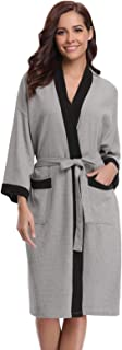 Bata para Mujer Algodón con Escote en V Albornoz de Kimono de Mujer Ropa de Dormir con Cinturón