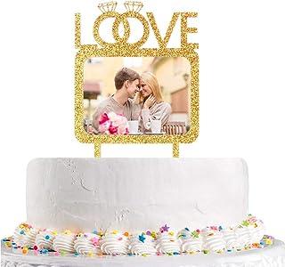 غلاف كعكة بتصميم حلقات ماسية مزدوجة مع إطار للصور، صورة لذكرى الزواج والخطوبة لتزيين الكيك، زينة للحفلات
