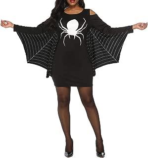 Womens Halloween Costumes Spiderweb Plus Size Jersey Tunic Cosplay Dress