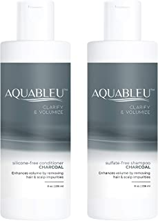 Aquableu Charcoal Shampoo & Conditioner Set – Detoxifying, Deep Cleansing, Clarifying & Volumizing - Sulfate & Paraben Free - Cruelty Free - For color treated hair - For Men & Women. (8 oz)