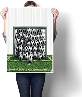 SCOCICI1588 Modern Art Picture Colorful Canvas Print NFull of Soccer Balls The Football Field Schoolyard Victory Artwork for Kitchen Room Decor,24
