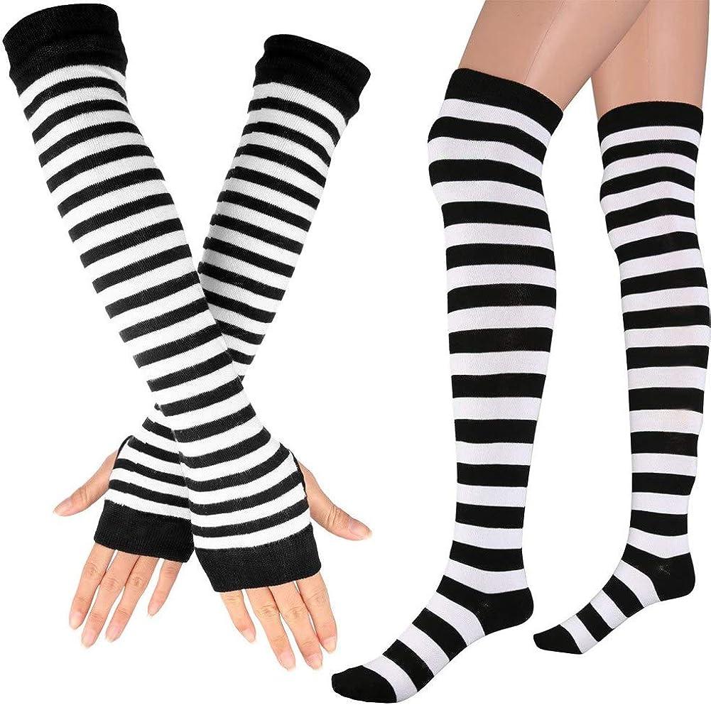 Song Qing Women's Rainbow Striped Socks Knitted Stretch Knee High Stockings Long Arm Warmer Fingerless Mitten Gloves Set