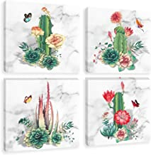 Floral Cactus Wall Art Canvas Prints for Bedroom Living Room Decor Tropical Plant Painting Succulent Butterfly Picture, Framed Green Red 12x12 Inches Set of 4