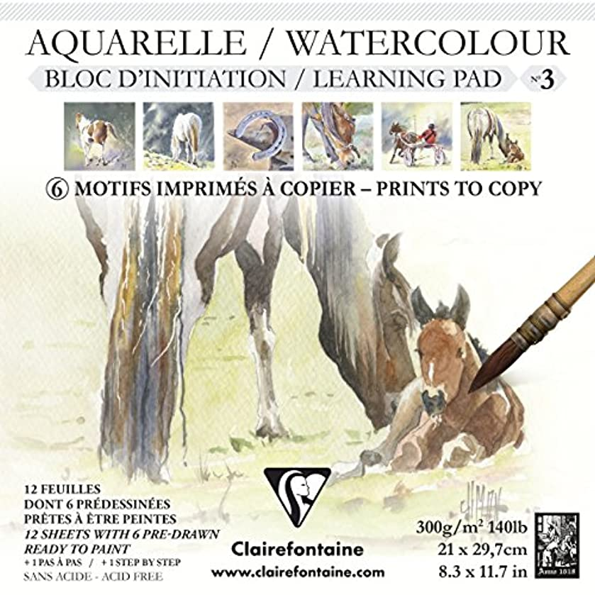 Clairefontaine Initiation No 3 Watercolour Glued Pad, 300 g, 21 x 21 cm, 12 Sheets