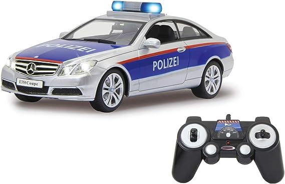 Jamara 405126 Mercedes-Benz E 350 Coupe Policía Plata/Rojo 1:16 2,4 G sirena alemana de alarma, arranque, aceleración, frenos, tono, claxon, luz de señal, 4 velocidades: Amazon.es: Juguetes y juegos