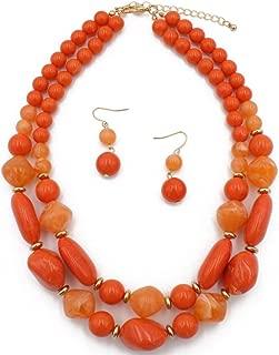Shineland 2 Layer Jelly Colored Acrylic Handmade Statement Strand Chunky Beaded Fashion Jewelry