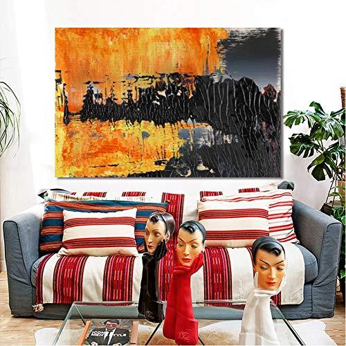 KWzEQ Arte Moderno Naranja y Negro Pintura al óleo Abstracta Arte de Pared Utilizado para la decoración de la Sala de Estar,Pintura sin Marco,75x112cm