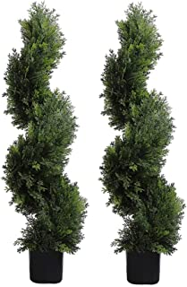 MOMO PLANT 3 Ft Topiary Tree Artificial Plants Cypress Leave Spiral Plant Faux Fake Trees Indoor or Outdoor for Decor in Plastic Pot Green, Set of 2 (35 inch)