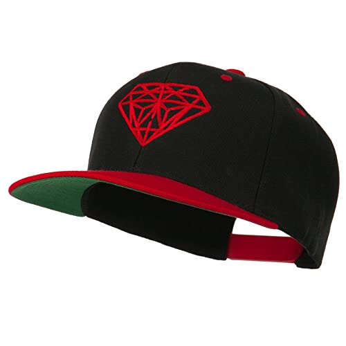 Diamond Embroidered Snapback Two Tone Cap - Black Red 7e94e76c9bf