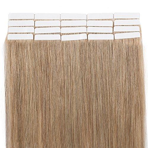 Extenson Capelli Veri Adesivo Tape in Hair Extension Biadesive Remy Human Hair 40g/set 20 Fasce - 30cm 27 Biondo Scuro - Lisci Naturali Umani Invisibile