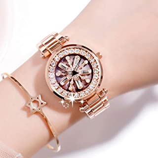 Wangyr Time to Run Watch/Ladies Student Fashion Trend Waterproof Rotating Watch/Good Material, High Quality Unique Fashion Classic Casual Luxury Business Dress (Color : Gold)