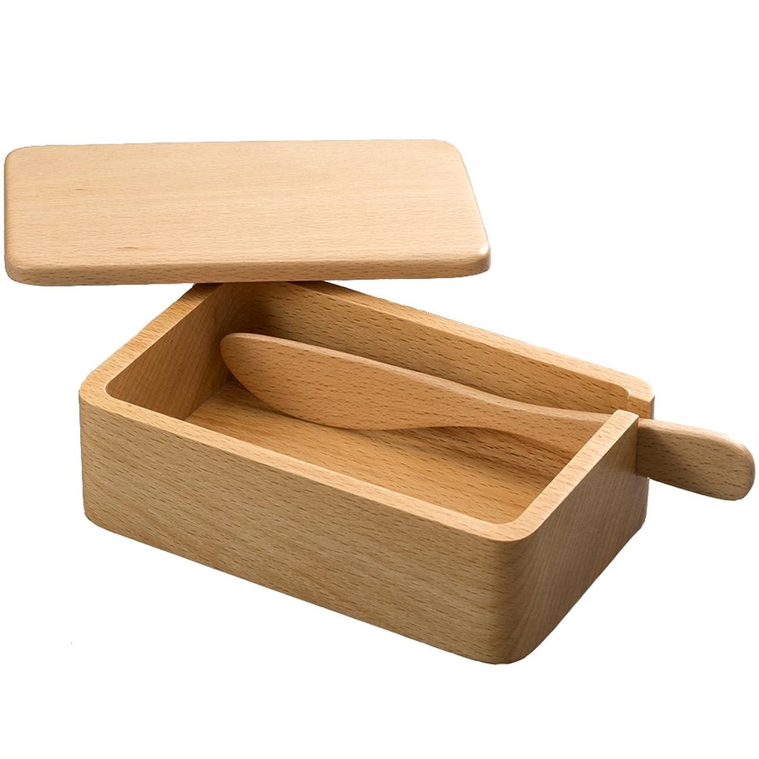 不倫決して裁判所ナガオ 橅(ブナ)の木 くりぬき バターケース バターナイフ付