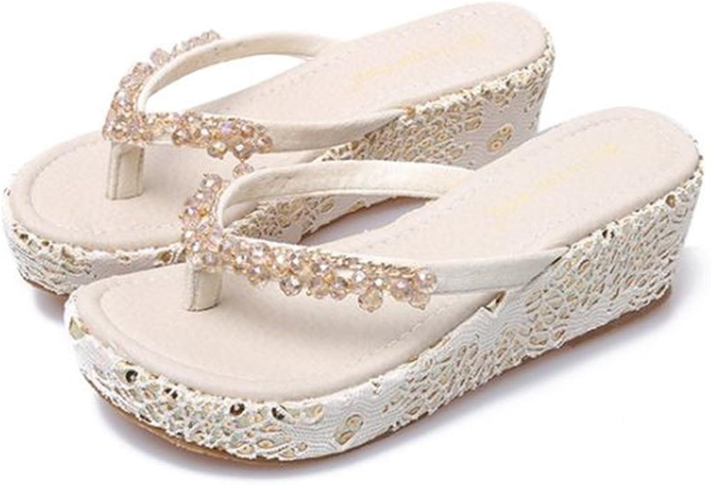 Womens Flat Sandals Summer Rhinestone Bohemian Flip Flop shoes