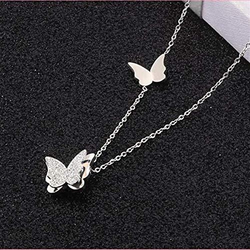 LKITYGF Elegante Colgante Lindo Mate Doble Mariposa encantos Collar de Color Rosa Color Oro Acero...
