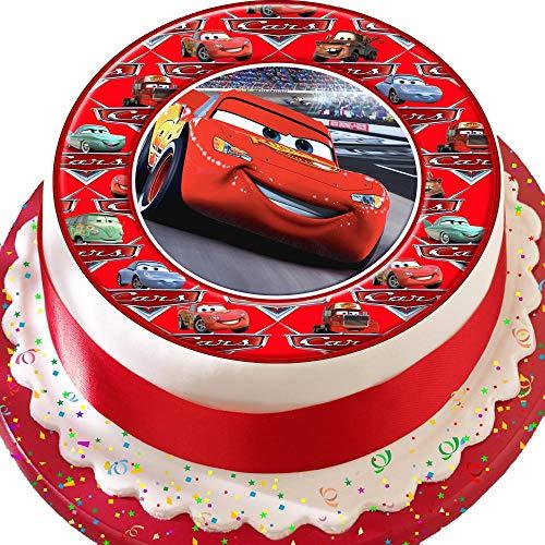 Vorgeschnittener Kuchenaufleger, Motiv: Autos, Lightening McQueen, für Geburtstagskuchen, mit dekorativer Bordüre, essbarer Zuckerguss