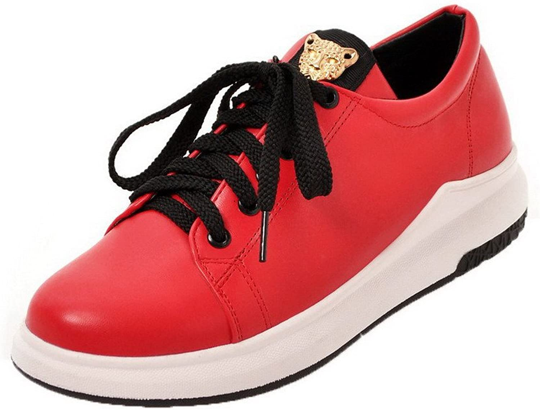 AllhqFashion Women's No-Heel Solid Lace-up PU Round-Toe Pumps-shoes