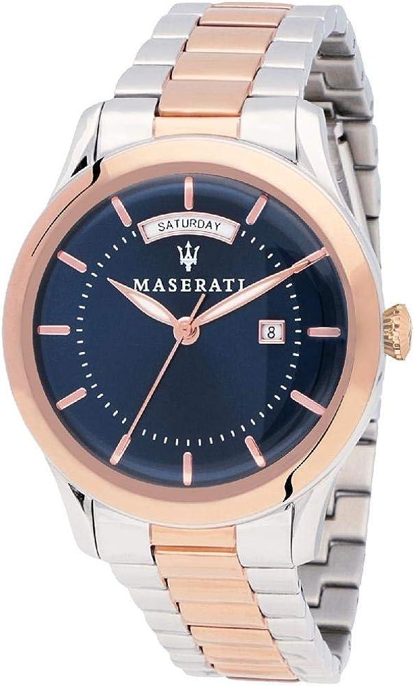Maserati orologio da uomo, collezione tradizione, in acciaio inossidabile, pvd oro rosa 8033288734680