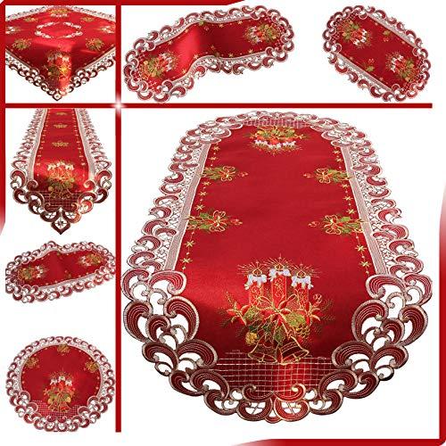Quinnyshop Weihnachten Tischläufer Tischdecke Dunkelrot Leinenoptik Rot Kerzen Stickerei (ca. 60 cm Rund)