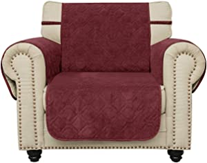 Ameritex Anti-Slip Chair Cover Coral Fleece Waterproof Furniture Protector Updated Pattern Supper Soft and Warm Pet Sofa Cover for Dogs and Children (Burgundy, Chair)