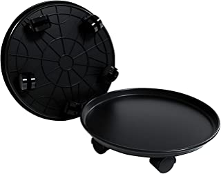 "Amkoskr 2 Pack 15.5"" Black Plant Caddy Round Movable Planter with Easy Moving Caster Wheels Dolly Trolley Tray Pallet Outdoor Indoor Tree Flower Stand Planter"