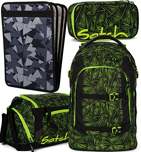 Satch Pack Green Bermuda 4er Set Schulrucksack, Sporttasche, Schlamperbox & Heftebox Schwarz