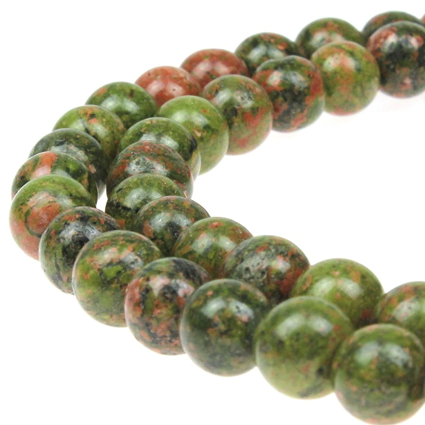 JARTC Natural Stone Beads Unakite Round Loose Spacer Beads 15'' 4m 6m 8m 10mm 12m for Jewelry Making (8mm)