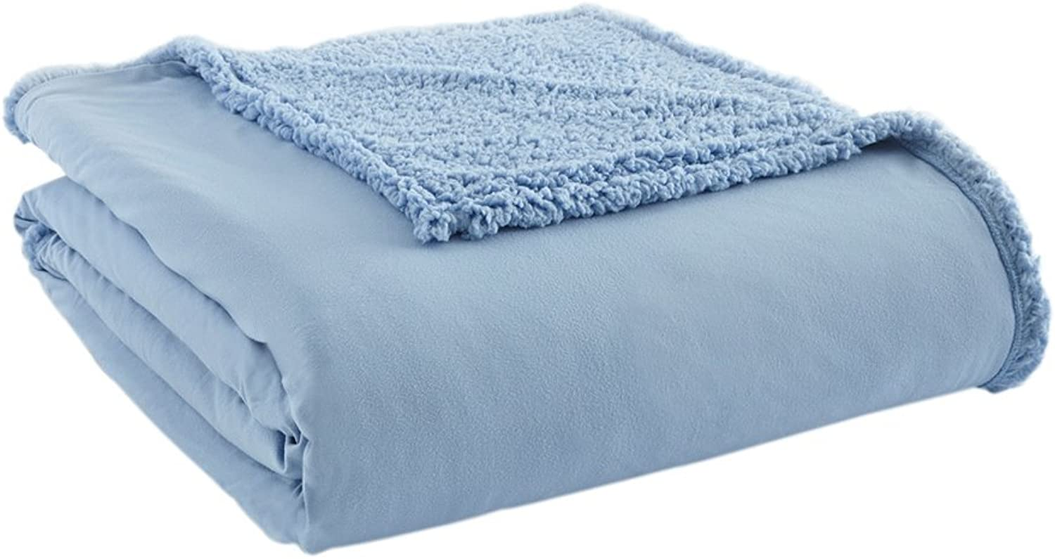 Shavel Home Products 90 by 90-Inch Micro Flannel Blanket with Sherpa Back, Full Queen, Wedgwood