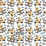 Pingianer Tela de algodón 100 % para niños, diseño de jirafa, leopardo, avión, por metros, artesanía, tela de costura (100 x 160 cm)