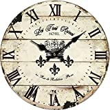 Yung Jo 10' Vintage Rustic Shabby Chic Style Roman Numeral Design Wooden Round Decorative Wall Clock (Crown)