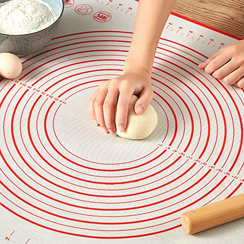 60x80cm Silicone Baking Mat Non-Stick Kneading Dough Sheet Pizza Pastry Bakeware Kitchen Cooking Gadgets Table Mat Accessories-red,70x50cm