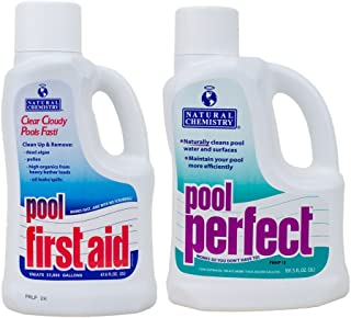 Natural Chemistry 03121-122 Pool Perfect Enzyme Water Cleaner, 3-Liter and Pool First Aid Clears Cloudy Swimming Pool Water, 2-Liter