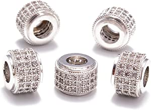 AD Beads Zircon Pave Rhinestones Rondelle Or Hexagon Bracelet Connector Spacer Beads (5 Pcs Clear on Silver 3 Row Rondelle (6x7mm))