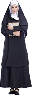 Women's Nun Costume Halloween Party Outfit Traditional Robe and Habit Adult One Sized Black