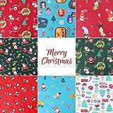 Gukasxi 8 piezas de tela de algodón de Navidad de 50x50 cm cuadrados para acolchar patchwork...
